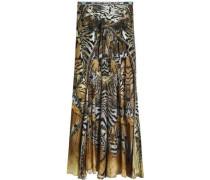 Asymmetric printed silk crepe de chine skirt