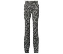 Printed Cotton-twill Straight-leg Pants Black