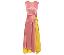 Knotted Color-block Silk-satin And Twill Midi Dress Antique Rose Size 14