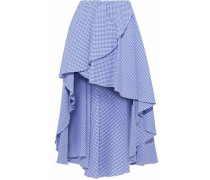 Adelle Asymmetric Gingham Cotton-seersucker Mini Skirt Blue