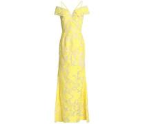 Cold-shoulder fil coupé cotton and silk-blend gown