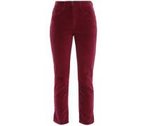 W3 Higher Ground Cropped Stretch-cotton Velvet Slim-leg Pants Plum  3