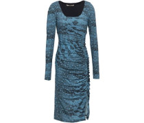 Ruched Animal-print Stretch-jersey Dress Blue