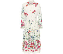 Woman Pleated Floral-print Stretch-cotton Dress Ivory