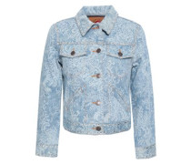 Crystal-embellished Printed Denim Jacket Light Denim
