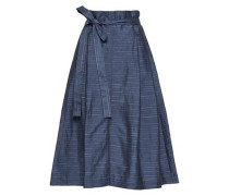 Belted Striped Linen-blend Midi Skirt Indigo