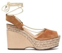 Suede Platform Sandals Camel