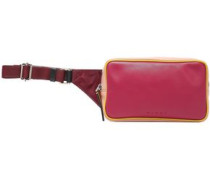 Color-block Leather And Shell Belt Bag Magenta Size --