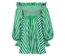 Kora Off-the-shoulder Striped Cotton Mini Dress Green