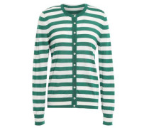 Striped Cashmere And Silk-blend Cardigan Green