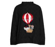 Appliquéd bouclé-knit sweater