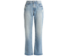 Distressed High-rise Straight-leg Jeans Light Denim  8
