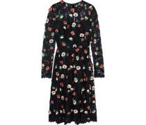Floral-appliquéd Corded Lace Dress Black Size 14