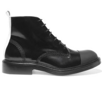 Rubber-paneled Glossed-leather Ankle Boots Black