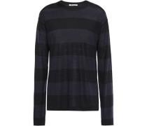 Woman Striped Merino Wool-blend Sweater Black