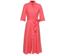 Mae B Cotton-blend Poplin Midi Wrap Dress Coral