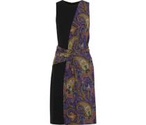 Paneled Draped Printed Stretch-crepe Dress Purple