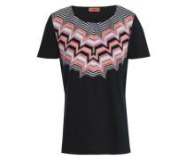 Crochet knit-paneled cotton-jersey T-shirt