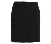 Flocked denim mini skirt
