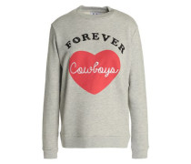 Embroidered Printed French Cotton-blend Terry Sweatshirt Gray