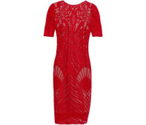 Woman Atlas Embroidered Tulle Mini Dress Red