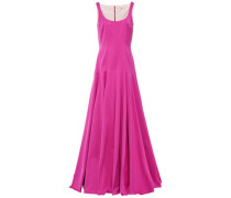 Amita Pleated Cotton-blend Faille Gown Magenta