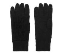 Suede-trimmed fringed cashmere gloves