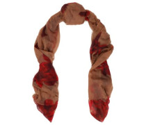 Frayed floral-print cashmere-gauze scarf