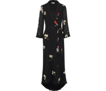 Lorita Floral-print Georgette Maxi Wrap Dress Black