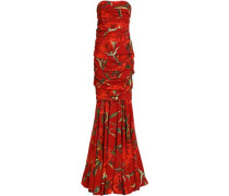 Strapless ruched floral-print crepe gown