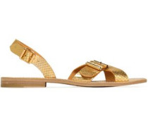 Buckled metallic leather sandals