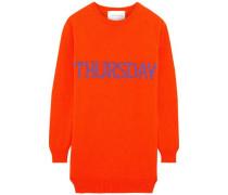 Intarsia Wool And Cashmere-blend Mini Dress Bright Orange
