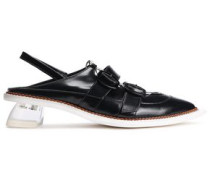 Woman Buckled Leather Slingback Point-toe Flats Black