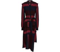 Asymmetric Belted Striped Woven Dress Blue