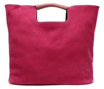Birch Leather-trimmed Nubuck Tote Magenta Size --