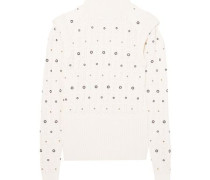 Woman Embellished Knitted Turtleneck Sweater Ivory