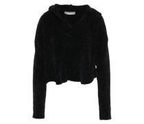 Cropped Ribbed Chenille Hoodie Black