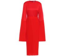 Emilline Satin And Plissé-crepe Dress Red