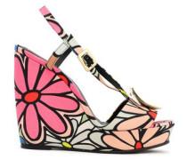 Buckle-embellished Floral-print Canvas Wedge Sandals Pink
