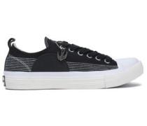 Leather-appliquéd canvas sneakers