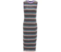 Metallic Striped Ribbed-knit Dress Violet