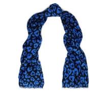 Leopard-print cotton and silk-blend scarf