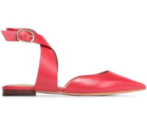 Leather Point-toe Flats Crimson