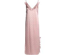 Ruffle-trimmed printed satin midi slip dress