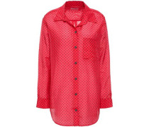 Printed Cotton And Silk-blend Shirt Red