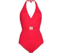 Belted halterneck swimsuit
