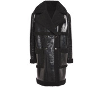 Double-breasted Faux Shearling Coat Black