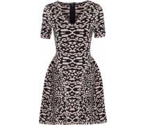 Flared Leopard-print Jacquard-knit Mini Dress Black