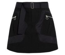 Shell and wool and cotton-blend twill mini skirt