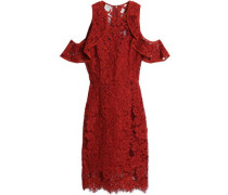 Cold-shoulder ruffle-trimmed corded lace dress